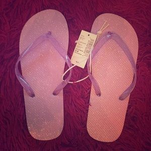 Girls flip flops sparkle purple